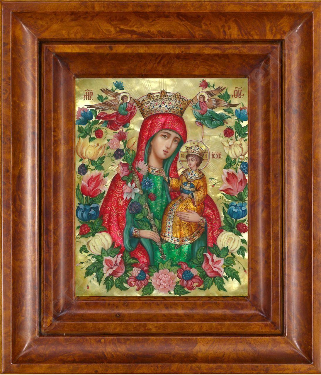 Икона с цветком фото